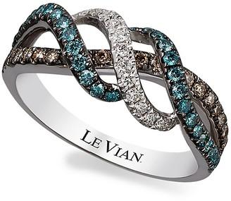 LeVian 14K Vanilla Gold Iced Blueberry, Vanilla and Chocolate Diamond Ring/Size 7, 0.62 TCW
