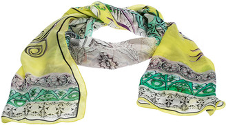 Roberto Cavalli Yellow Abstract Printed Silk Scarf