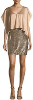 Aidan Mattox V-Neck Satin Sequined Combo Cocktail Dress