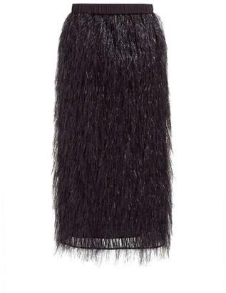 Raey Elasticated-waist Tinsel Midi Skirt - Black