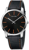 Calvin Klein City Orange Stitching Leather Strap, Black & Orange Dial