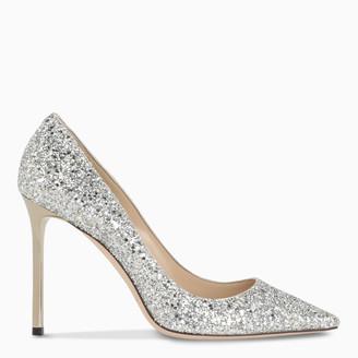 Jimmy Choo Silver glitter-embellished Romy pumps