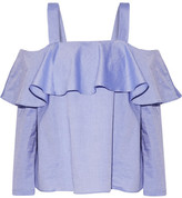 Paul & Joe Off-the-shoulder Ruffled Cotton Top - Sky blue
