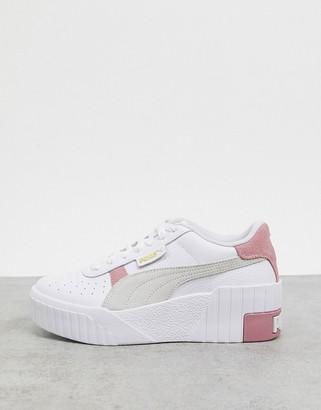 Puma Cali Wedge trainers in white and pink