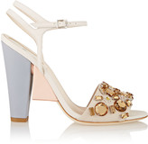 Fendi Crystal-embellished color-block leather sandals