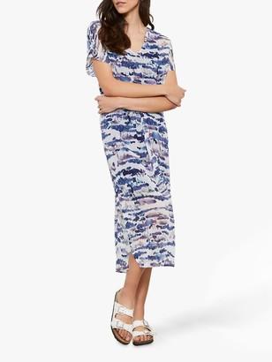 Mint Velvet Viola Sheer Abstract Midi Dress, White Ivory