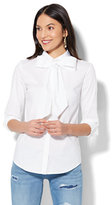 New York & Co. 7th Avenue - Madison Stretch Shirt - Bow Accent - White