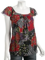 red floral paisley mesh flutter top