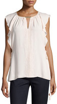 Elie Tahari Coline Lace-Trim Tasseled Silk Blouse, Light Pink