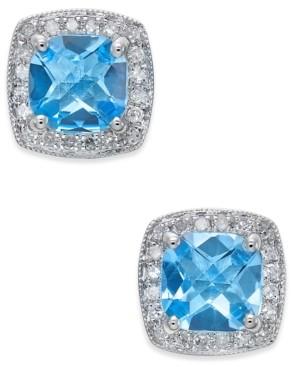 Macy's Blue Topaz (2 ct. t.w.) and Diamond (1/6 ct. t.w.) Stud Earrings in 14k White Gold