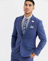 Gianni Feraud Winter Wedding Slim Fit Tweed Wool Blend Suit Jacket-Blue