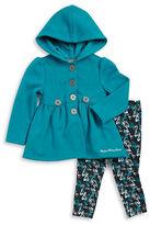 Calvin Klein Girls 2-6x Peplum Hooded Jacket and Printed Leggings Set