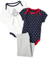 Nautica Newborn/Infant Boys) 3-Piece Anchor Bodysuit & Pants Set