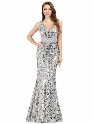 Ever Pretty Ever-Pretty Women's V Neck Floor Length Elegant Mermaid Long Sequins Ball Dressses Champagne 14