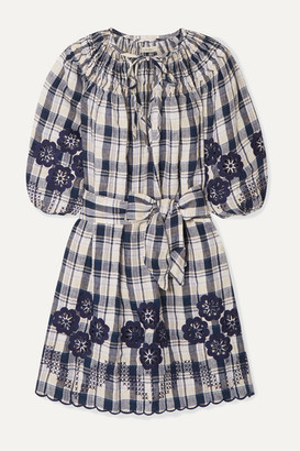 Innika Choo Hans Ufmafrok Broderie Anglaise-trimmed Checked Linen Mini Dress - Navy
