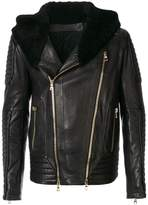 Balmain fur collar biker jacket