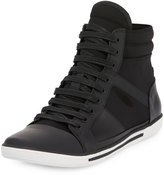 Kenneth Cole Sun Down Leather/Neoprene High-Top Sneaker, Black