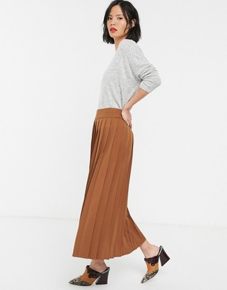 Selected midi skirt with pleats in brown