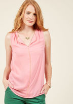 Mct1103 Even a late night in the studio deserves your best style effort. Show you agree by sporting this petal pink top to record your next episode! Boasting a notched neckline and apricot trim down the center, this loose 'n' flowy ModCloth namesake label top mak