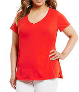 Eileen Fisher Plus V-Neck Short Sleeve Solid Top