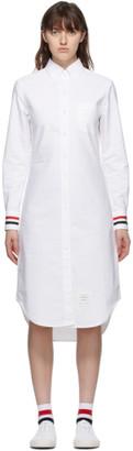 Thom Browne White RWB Stripe Classic Shirt Dress