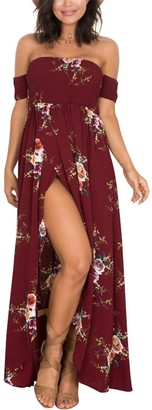Miss Floral Womens Off Shoulder Floral Print Split Maxi Dress 5 Style Size 6-18 Red