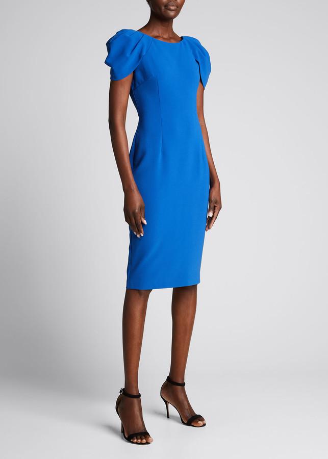 Marchesa Notte Draped Short-Sleeve Stretch Crepe Dress