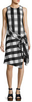 Rag & Bone Brighton Plaid Tank Midi Dress, Black/White