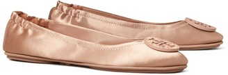 Tory Burch Minnie Embellished-Logo Travel Ballet Flat, Satin