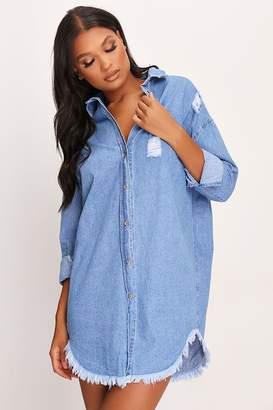I SAW IT FIRST Over Sized Frayed Denim Shirt Dress