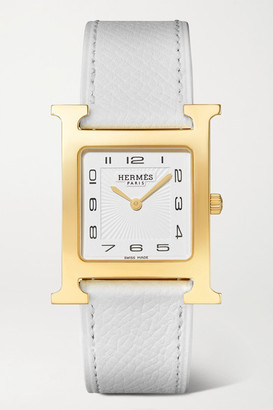 HERMÈS TIMEPIECES Heure H 26mm Medium Gold-plated And Textured-leather Watch - White