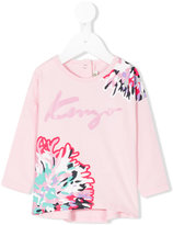 Kenzo logo floral long sleeved T-shirt - kids - Cotton/Spandex/Elastane - 3 mth