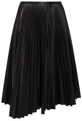 Cédric Charlier Asymmetric Pleated Faux Leather Midi Skirt