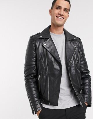 Barneys Originals Men's Black High Neck Leather Jacket