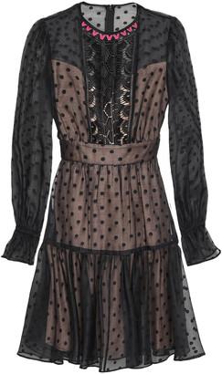 Temperley London Lace-paneled Polka-dot Cotton-blend Organza Mini Dress