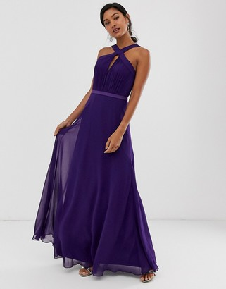 Little Mistress key hole halter neck strap maxi dress-Purple