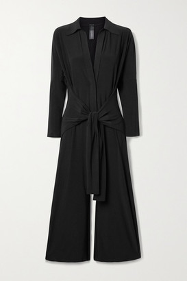 Norma Kamali Tie-front Stretch-jersey Jumpsuit - Black