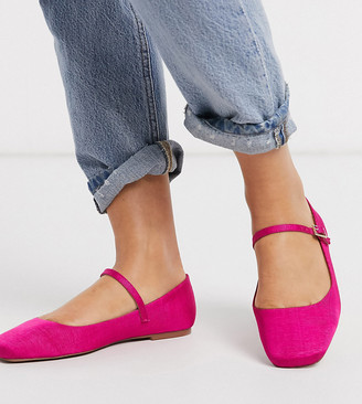 ASOS DESIGN Wide Fit Late mary jane ballet flats in pink