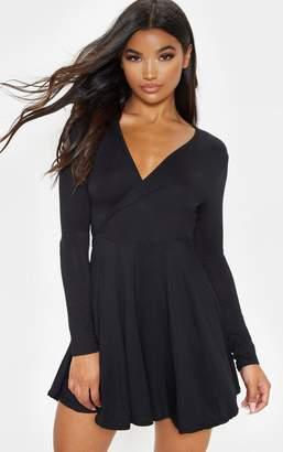 PrettyLittleThing Black Jersey Wrap Long Sleeve Skater Dress
