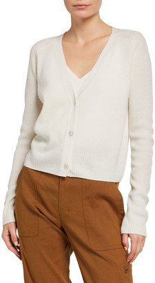 Vince Button-Front Ribbed Cashmere Raglan Cardigan