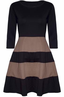 Fashion Star Womens 3/4 Sleeve Stripe Flared Skater Dresses Black and Cerise Plus Size (UK 16/18)