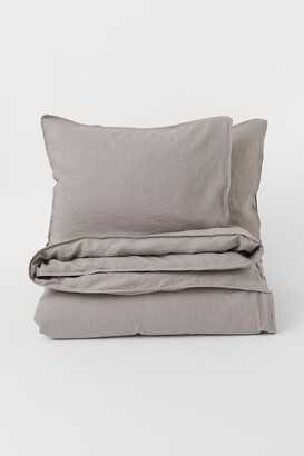 H&M Washed Linen Duvet Cover Set - Brown