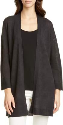 Eileen Fisher Organic Cotton & Linen Blend Open Front Cardigan