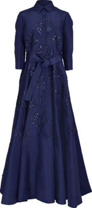 Carolina Herrera Embroidered Belted Trench Gown