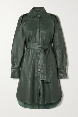 REMAIN Birger Christensen Lavare Belted Leather Shirt Dress - Dark green
