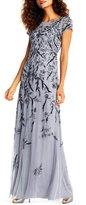 Adrianna Papell Beaded Short Sleeve Column Gown