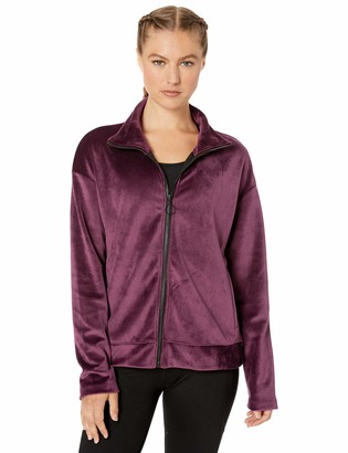 Core 10 Amazon Brand Women's Luxe Velvet Full-Zip Yoga Jacket