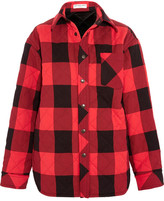 Balenciaga Oversized Quilted Checked Canvas Shirt - Red