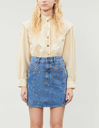 Sandro Gem-embellished denim mini skirt