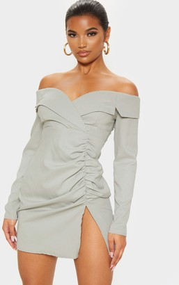 Bardot Paradis Sage Khaki Ruched Detail Blazer Dress